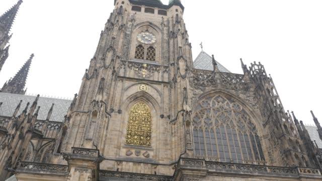gothic style church details in prague czechia czech republic 4k - gargoyle video stock e b–roll