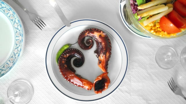 gourmet dish of octopus - spanish food stock videos and b-roll footage
