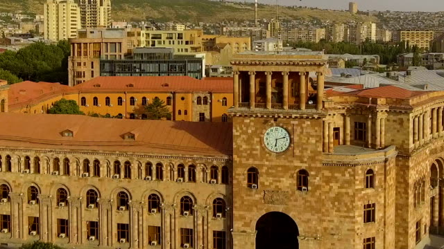 government house in republic square, yerevan cityscape, armenia aerial view - neoclassical architecture stock videos & royalty-free footage