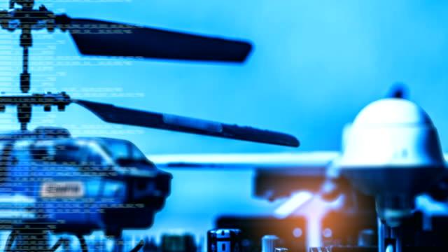 정부 군사 기술 모호한 추상 배경, 헬기 및 무인 컴퓨터 프로그래밍 코드, 현대 군사 작전의 개념. - 무인항공기 스톡 비디오 및 b-롤 화면