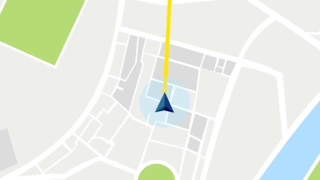 gps city map navigation with route stock - położenie filmów i materiałów b-roll