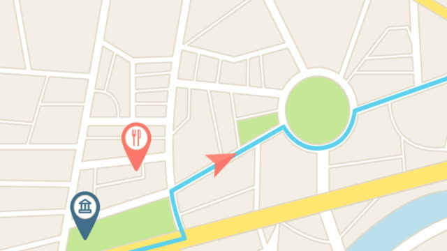 Gps city map navigation with route