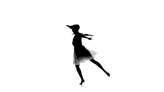 Graceful woman with ponytail dance modern contemporary style on white, silhouette, slow motion video