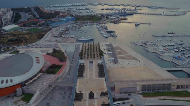 Graded footage - Aerial - Drone - flying into Faliro Bay - Athens, Greece, 2 of 4 video
