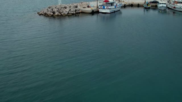 Graded footage - Aerial - Drone - Leros Island - Aegean Sea - Dodecanese - Revealing of a small harbor video