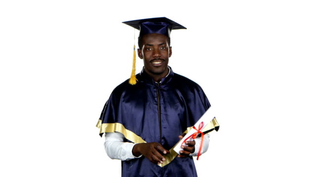 Graduate with diploma is dancing. White video