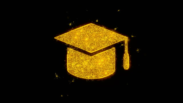 graduation cap icon sparks particles on black background. - tocco accademico video stock e b–roll
