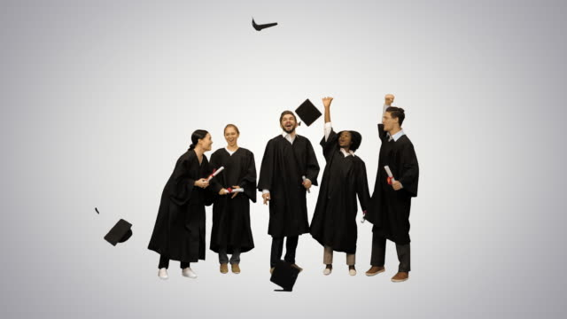 Graduation Caps Are Tossed Into The Air By A Happy Group Of Student Friends on gradient background
