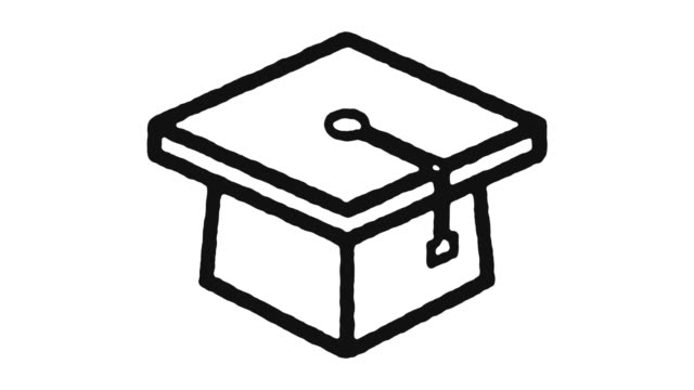 Graduation Icon Animation Footage & Alpha Channel Graduation outline icon animation footage/video. Hand drawn like symbol animated with motion graphic, can be used as loop item, has alpha channel and it's at 4K video resolution. diploma stock videos & royalty-free footage