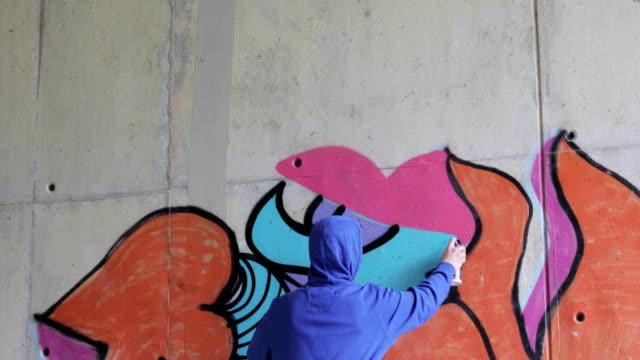 Graffiti Artist Spraying Graffiti on Wall