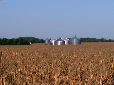grain bins in cornfield zoom out  (hd_link_below) - skalhylsa bildbanksvideor och videomaterial från bakom kulisserna
