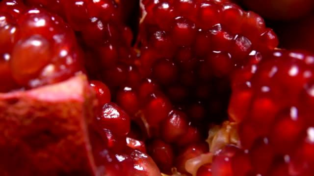 vídeos de stock e filmes b-roll de grains of large juicy red pomegranate - romã