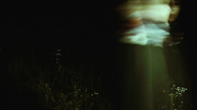 Grainy horror atmosphere with one long haired woman in wildflowers field video