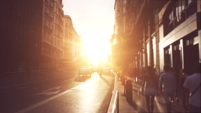 Gran via at sunset in Madrid video