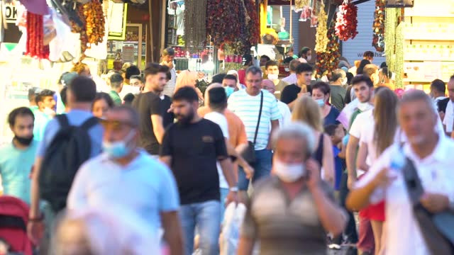 Grand Bazaar In Istanbul, Slow Motion Of People Wearing Medical Face Masks