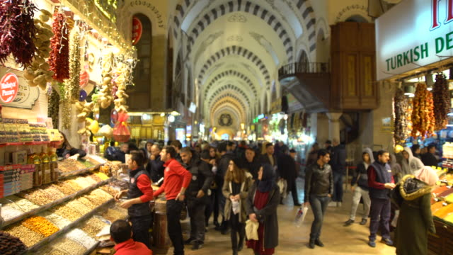 Grand Bazaar, Istanbul, Interior, Arched Ceiling, 4k Market This video is about he Crowded Interior Of The Grand Bazaar In Istanbul, Turkey People At Main Market spice stock videos & royalty-free footage