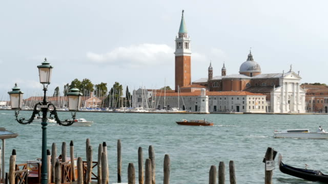 Grand Canal and Cathedral of San Giorgio Maggiore on the same island of the Venetian lagoon of San Giorgio Maggiore video
