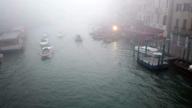 Grand Canal from Rialto Bridge at dusk in Venice video