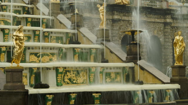 Grand Cascade golden statue in Peterhof Russia