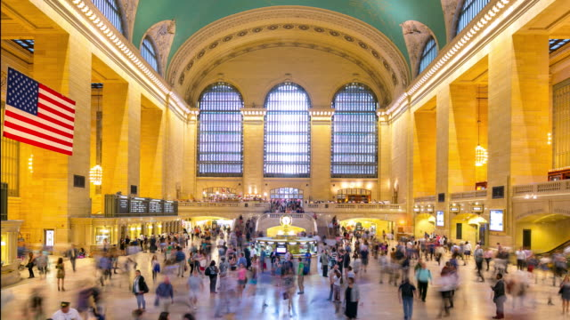 grand central building interior day light 4k time lapse from new york video