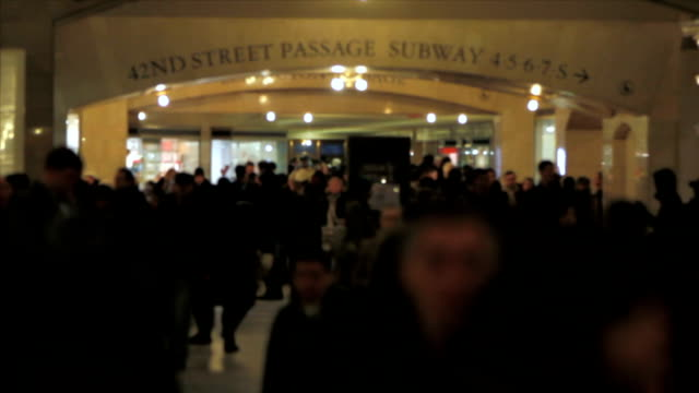 Grand Central Station People v2. Grand Central Station pedestrian traffic. Focus on background. new york city subway stock videos & royalty-free footage