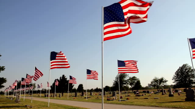 Grand Old Flags Parade of flags and a Memorial Day celebration. HD 1080. memorial day stock videos & royalty-free footage
