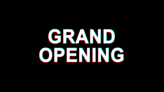 Grand Opening Glitch Effect Text Digital TV Distortion 4K Loop Animation