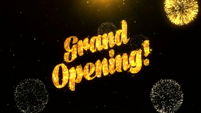 Grand Opening Greeting Card text Reveal from Golden Firework & Crackers on Glitter Shiny Magic Particles Sparks Night for Celebration, Wishes, Events, Message, holiday, festival video