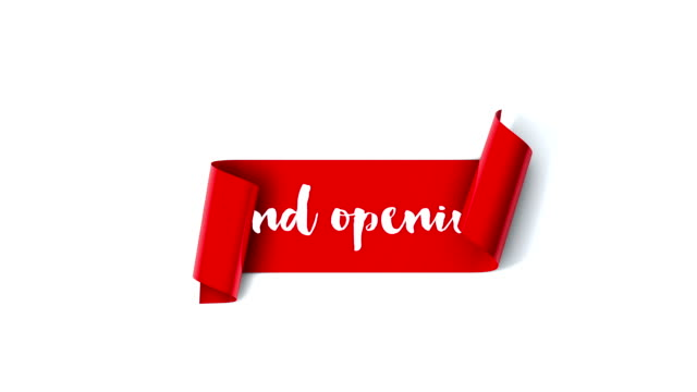 Grand opening red scroll unrolls on a plain white background video