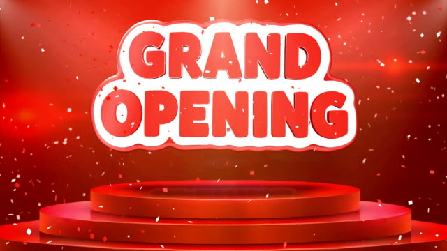 Grand Opening  Text Animation Stage Podium Confetti Loop Animation