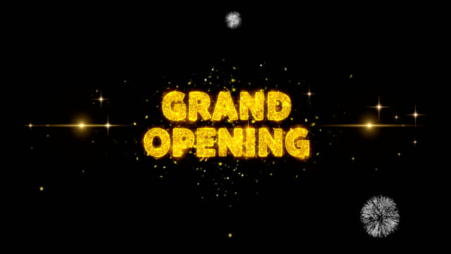 Grand Opening Text Reveal on Glitter Golden Particles Firework.