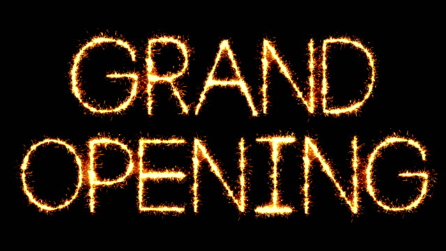 vídeos y material grabado en eventos de stock de grand opening text sparkler glitter sparks firework loop animation - gran inauguración