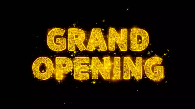 Grand Opening Text Sparks Particles on Black Background.