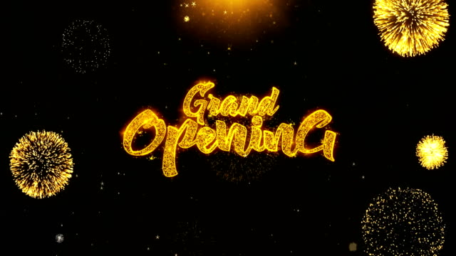 grand opening wishes greetings card, invitation, celebration firework looped - grand opening stock videos and b-roll footage