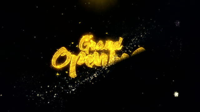 Grand Opening Written Gold Particles Exploding Fireworks Display video