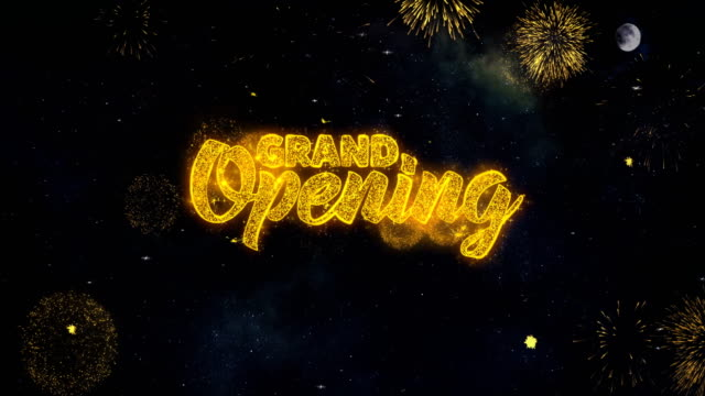 Grand Opening_1 Text Wishes Reveal From Firework Particles Greeting card.