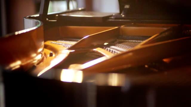 vídeos de stock e filmes b-roll de grand piano inside with strings. - piano