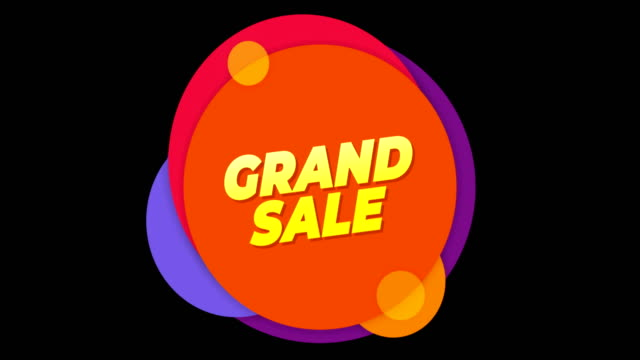 Grand Sale  Text Flat Sticker Colorful Popup Animation.