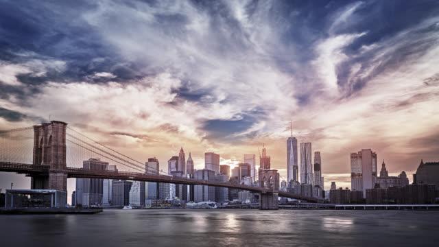 Grand Sunset. Brooklyn Bridge. Manhattan Financail District