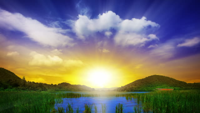 Grand sunset over landscape video