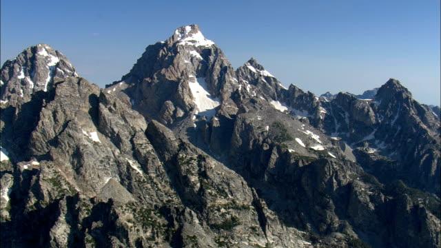 Grand Teton Mountain  - Aerial View - Wyoming,  Teton County,  helicopter filming,  aerial video,  cineflex,  establishing shot,  United States video