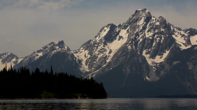 Grand Teton Mountain Range over Jackson Lake video