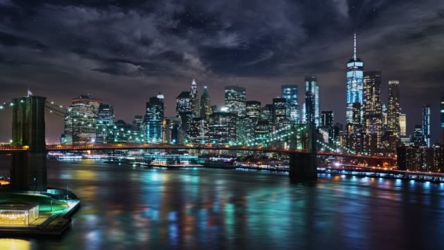 Grand view to Manhattan Financial District at Night Cityscape new york city skyline stock videos & royalty-free footage