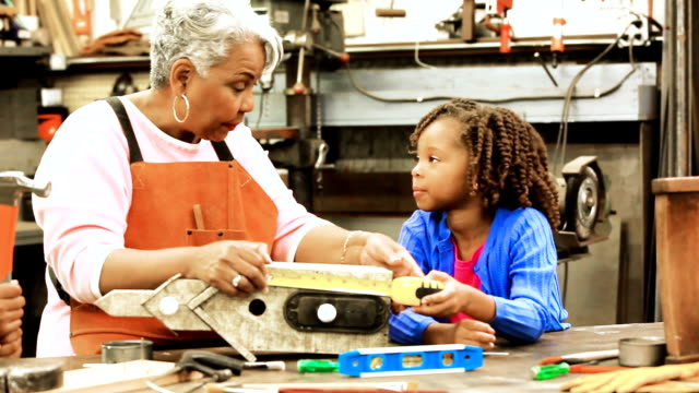 grandchildren in workshop with active senior grandmother building birdhouses. - hobby video stock e b–roll