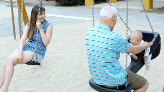 Grandfather and granddaughter video