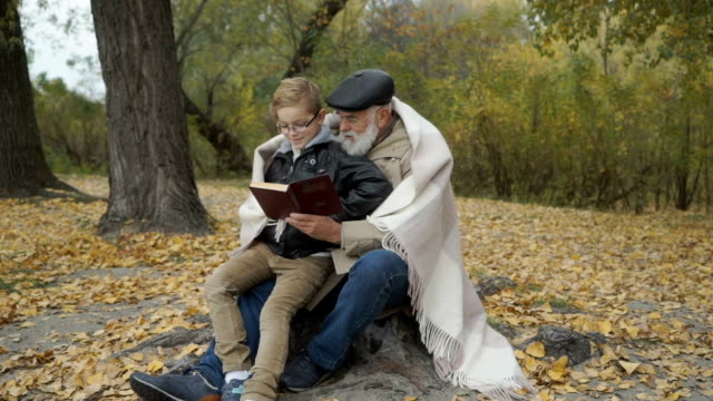 Grandfather and grandson read the book in autumn park video