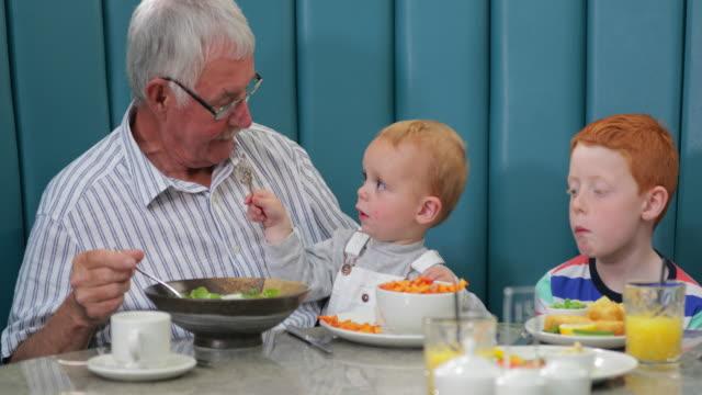彼の若い孫とレストランで祖父 - disruptagingcollection点の映像素材/bロール