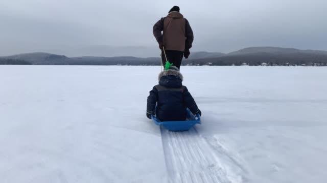vídeos de stock e filmes b-roll de grandfather pulling grandson on sled on frozen lake in winter - puxar