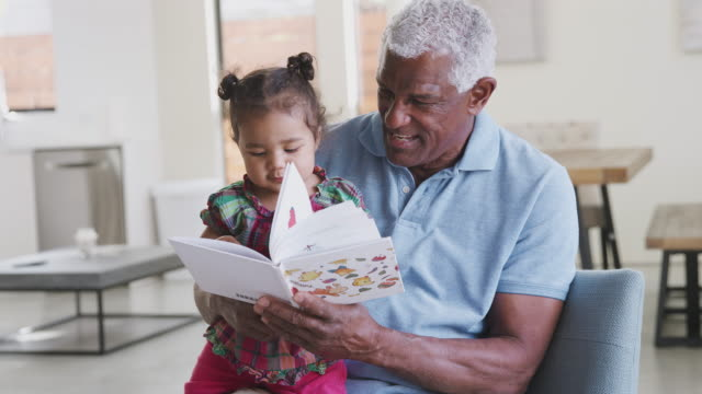 grandfather sitting on sofa at home reading book with baby granddaughter - nipote femmina video stock e b–roll