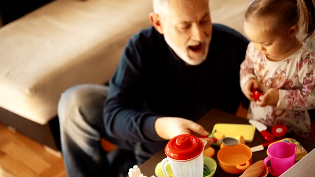 Grandfather With His Granddaughter Grandfather And His Granddaughter Playing With Toys In The Living Room granddaughter stock videos & royalty-free footage